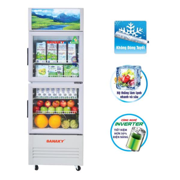 Tủ mát siêu thị Sanaky 2 cánh inverter