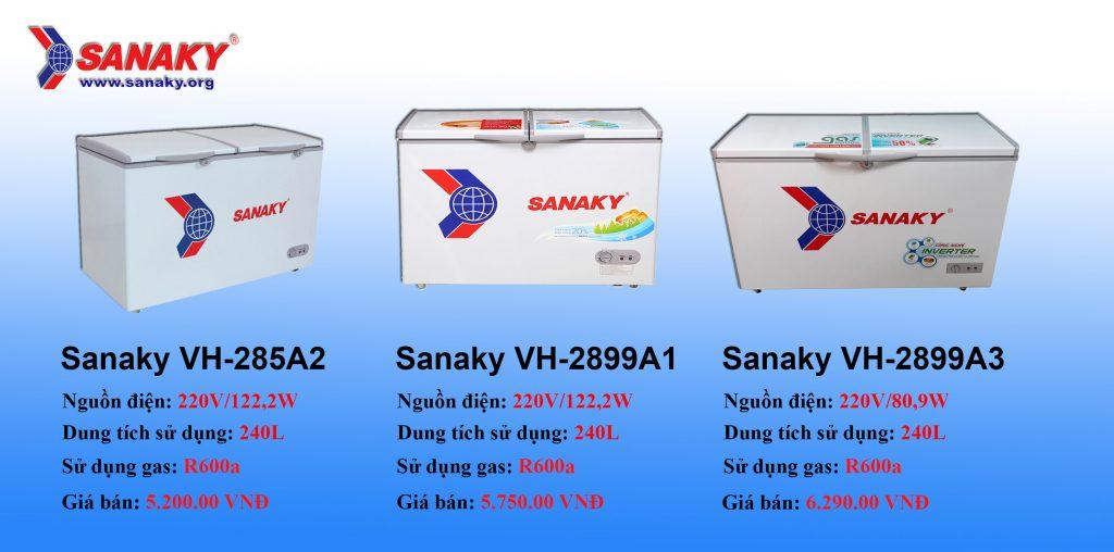 So sánh các tủ đông sanaky dung tích 280 lít
