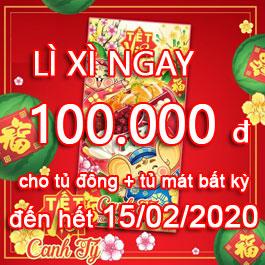Tặng ngay lì xì 100.000VNĐ khi mua tủ đông tủ mát Sanaky đến hết ngày 15-02