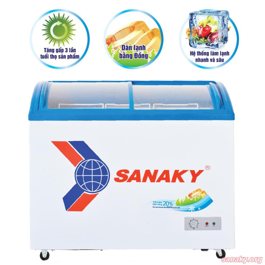 Tủ đông nắp kính Sanaky dàn đông