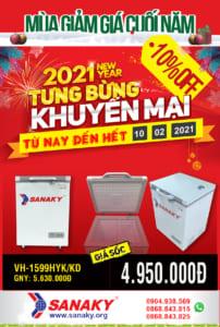 BIG Sale Tủ Đông Sanaky VH-1599HYK/KD